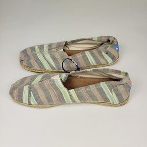 NWOT Toms Classic Slip On Flats Light Striped